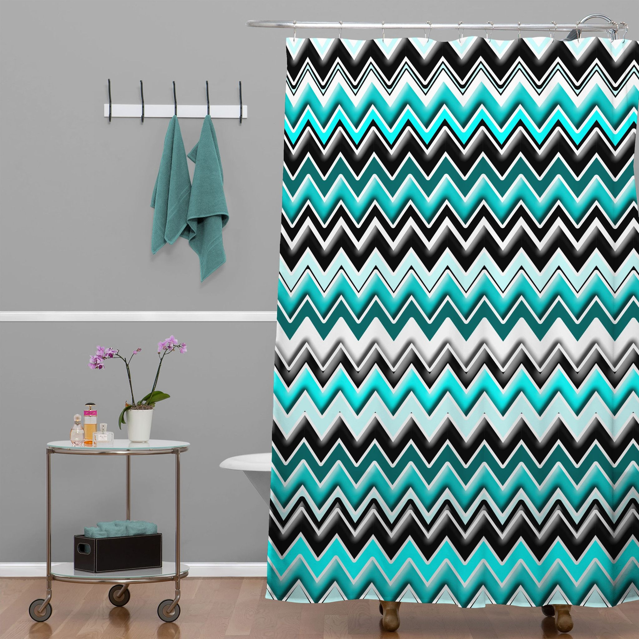 Green Chevron Shower Curtain Curtains Decoration Inside Gray Chevron Shower Curtains (Image 8 of 25)