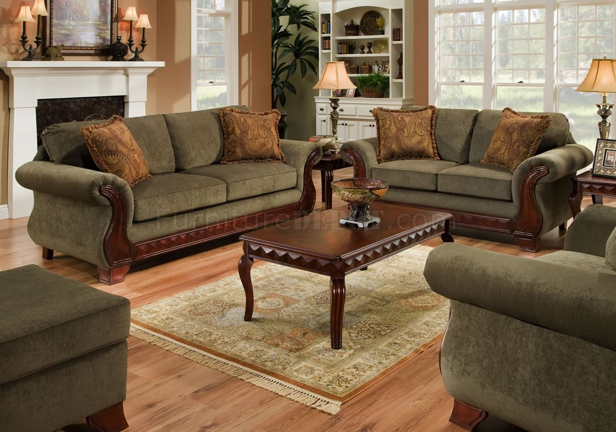 Green Fabric Traditional Sofa Loveseat Set Wcarved Wood Legs For Traditional Fabric Sofas (Image 5 of 15)