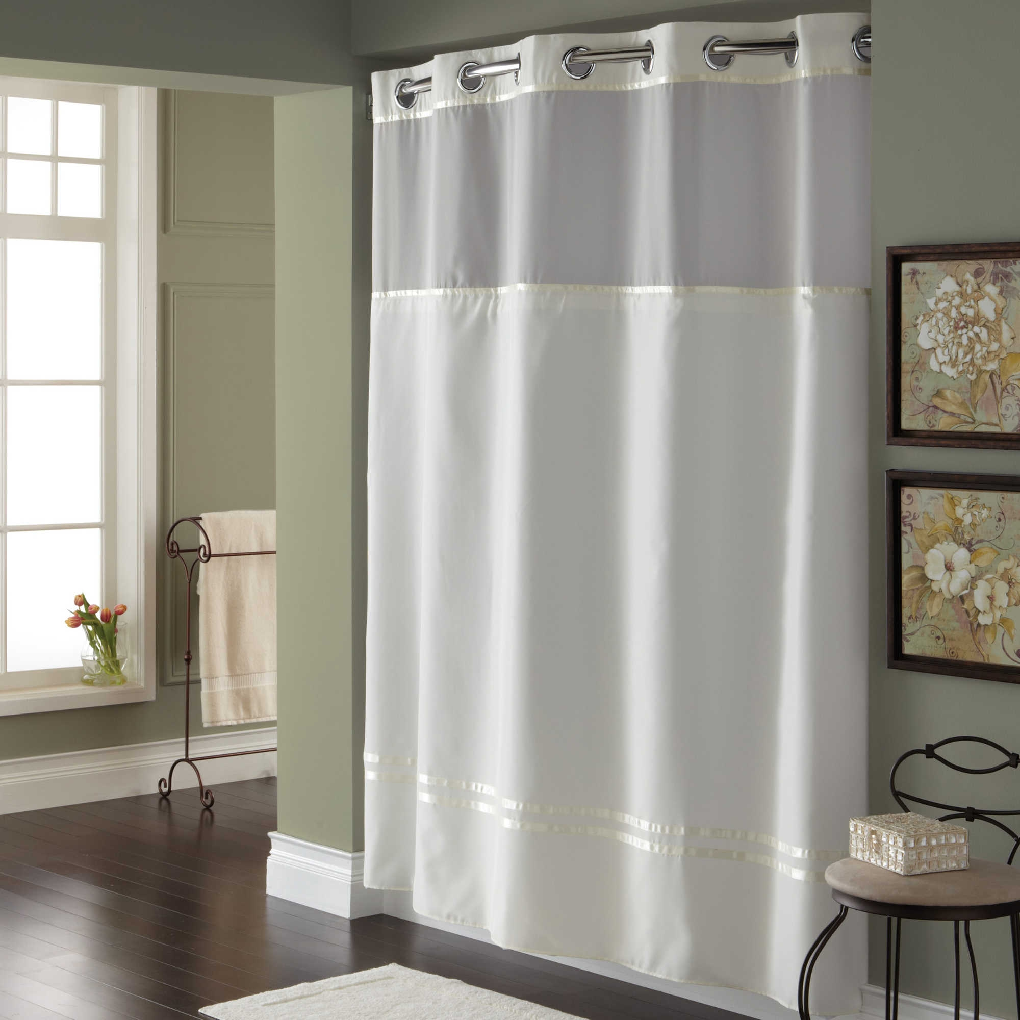 Grey And White Shower Curtains Curtains Decoration In Hookless Fabric Shower Curtain Liner (Image 10 of 25)