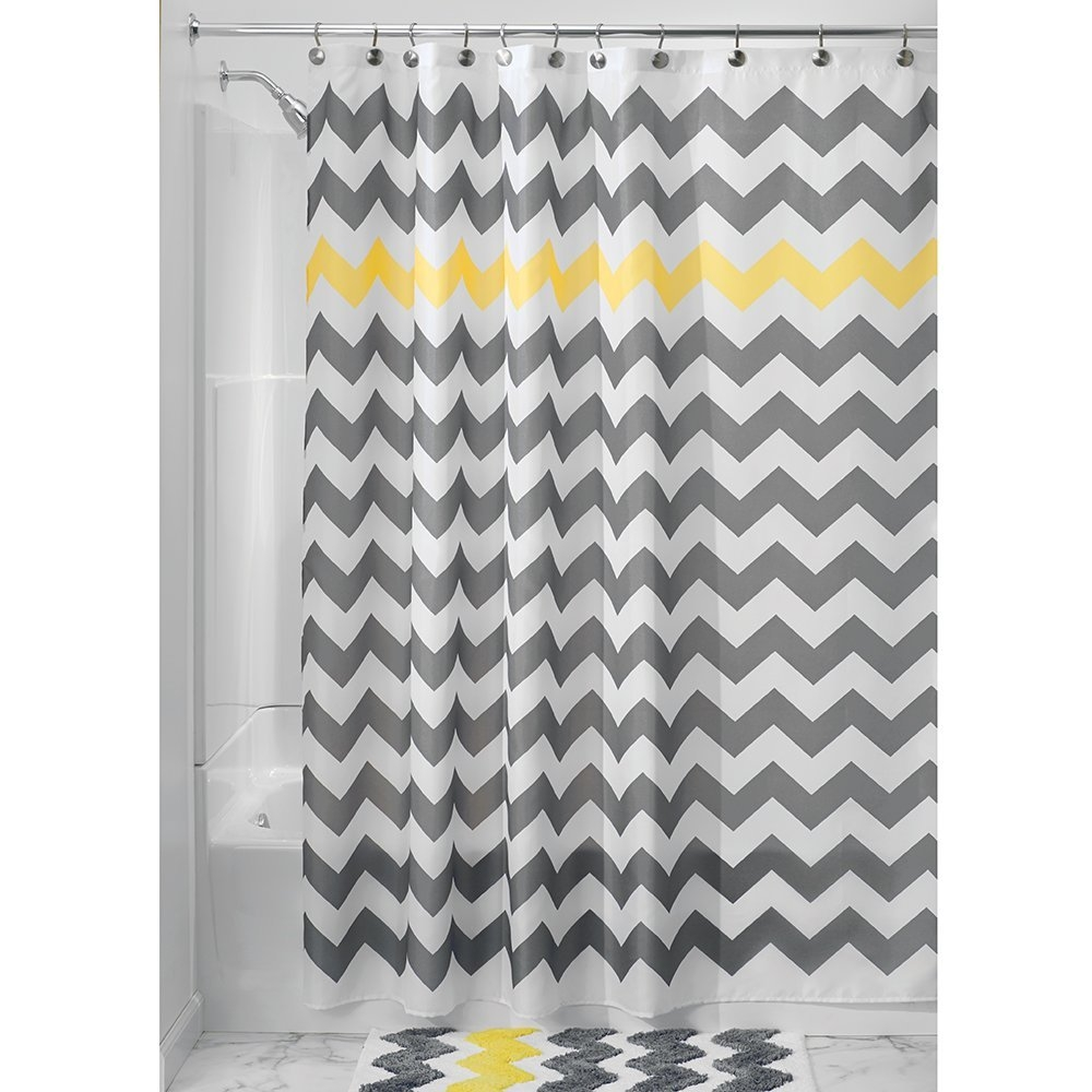 Grey And Yellow Shower Curtains Curtains Decoration With Regard To Gray Chevron Shower Curtains (Image 9 of 25)