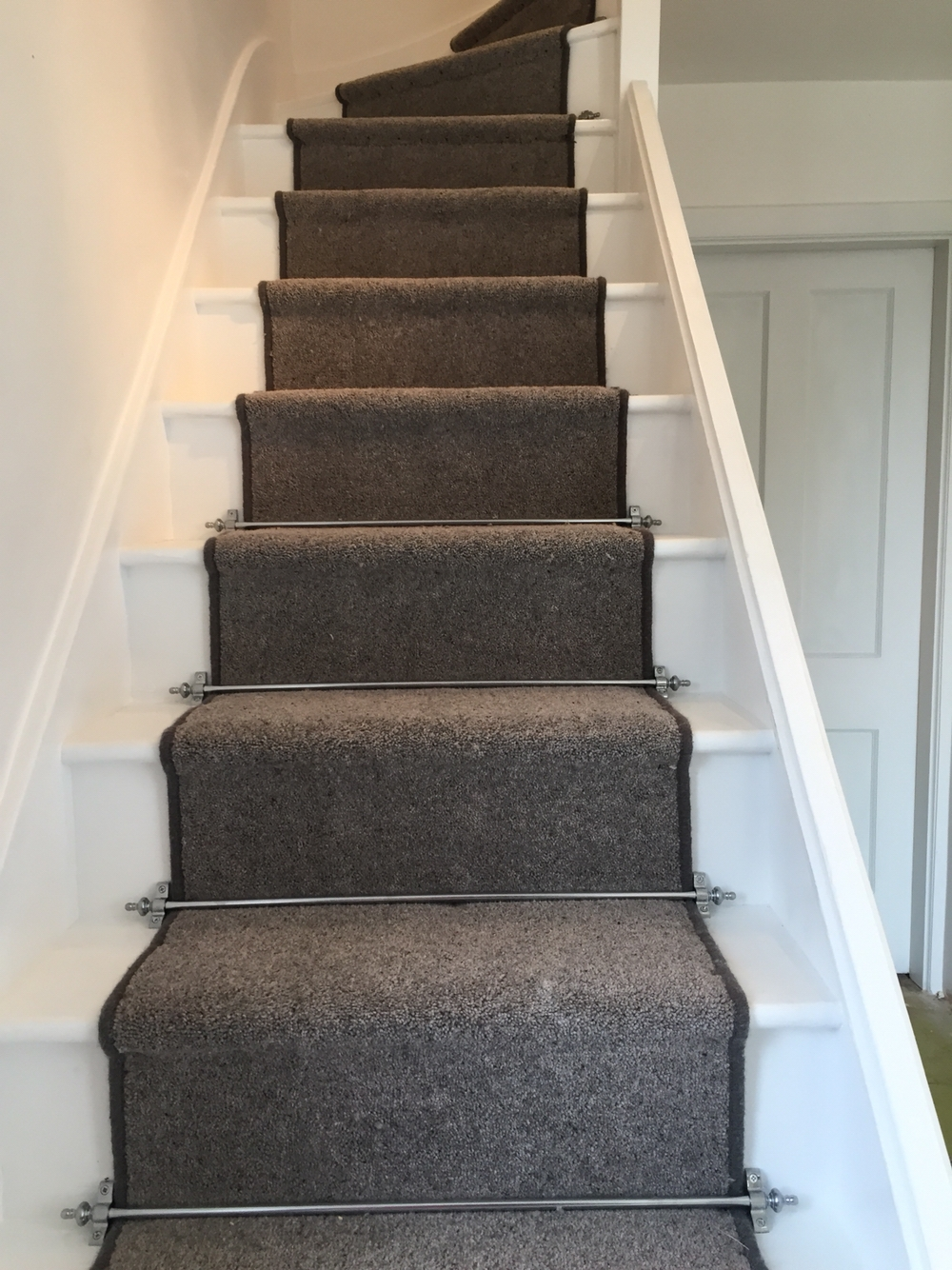 Grey Carpet With Black Border And Golden Stair Rods To Stairs With Regard To Stair Tread Carpet Bars (Image 4 of 15)