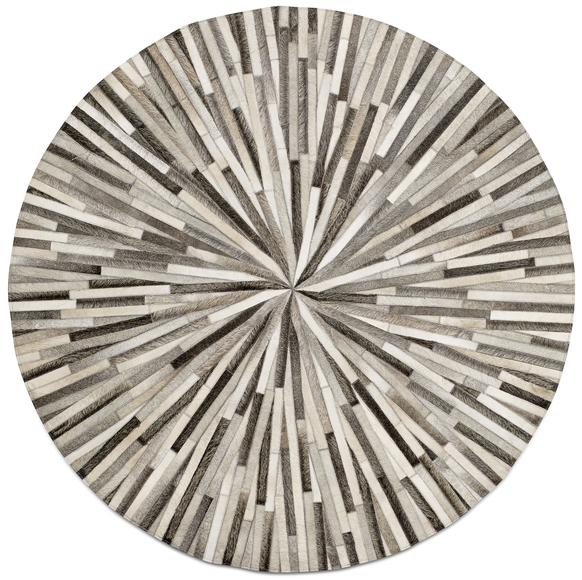 Grey Cowskin 150cm Diameter Contemporary Round Rugs Quality From Inside Round Mats Rugs (Image 5 of 15)
