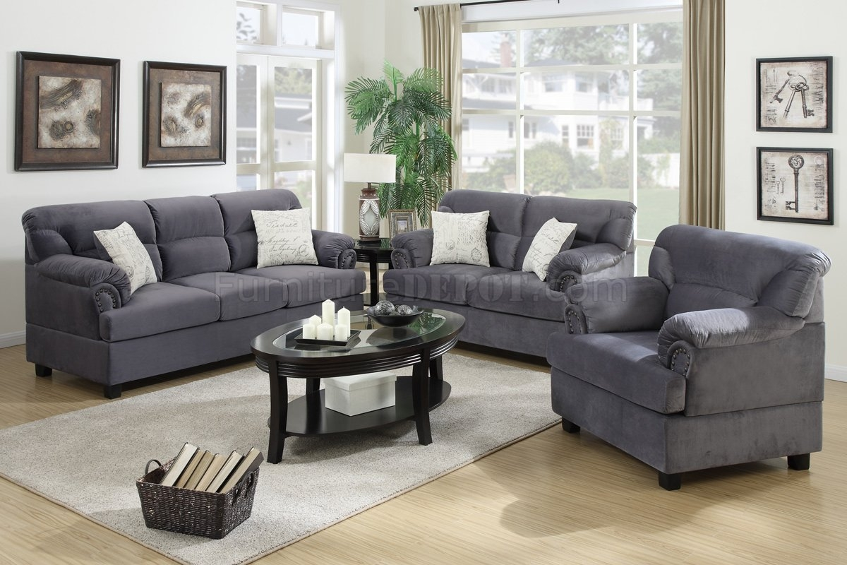 Grey Fabric Modern 3pc Sofa Loveseat Chair Set Wmetal Legs With Regard To Sofa And Chair Set (Image 7 of 15)