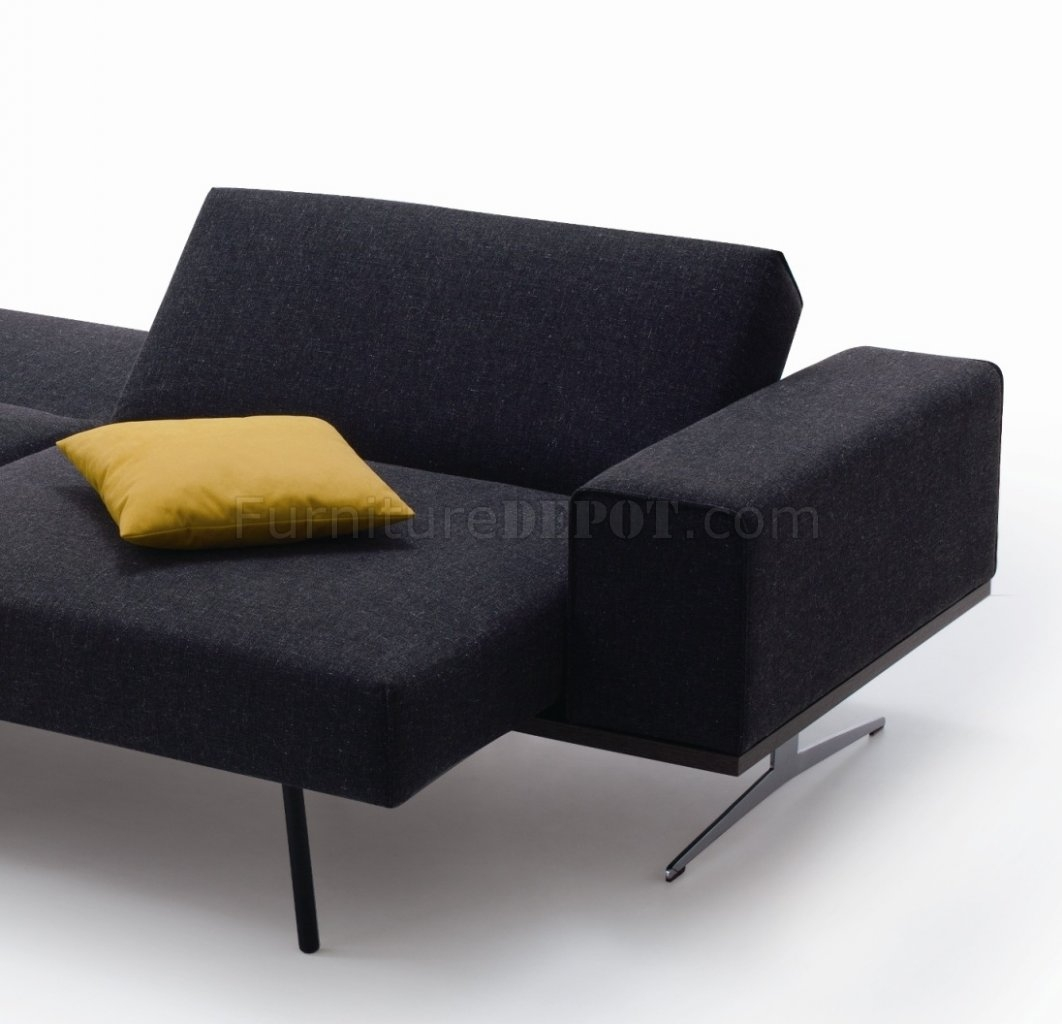 Grey Fabric Modern Sofa Bed Wstainless Steel Base For Charcoal Grey Sofa (Image 6 of 15)