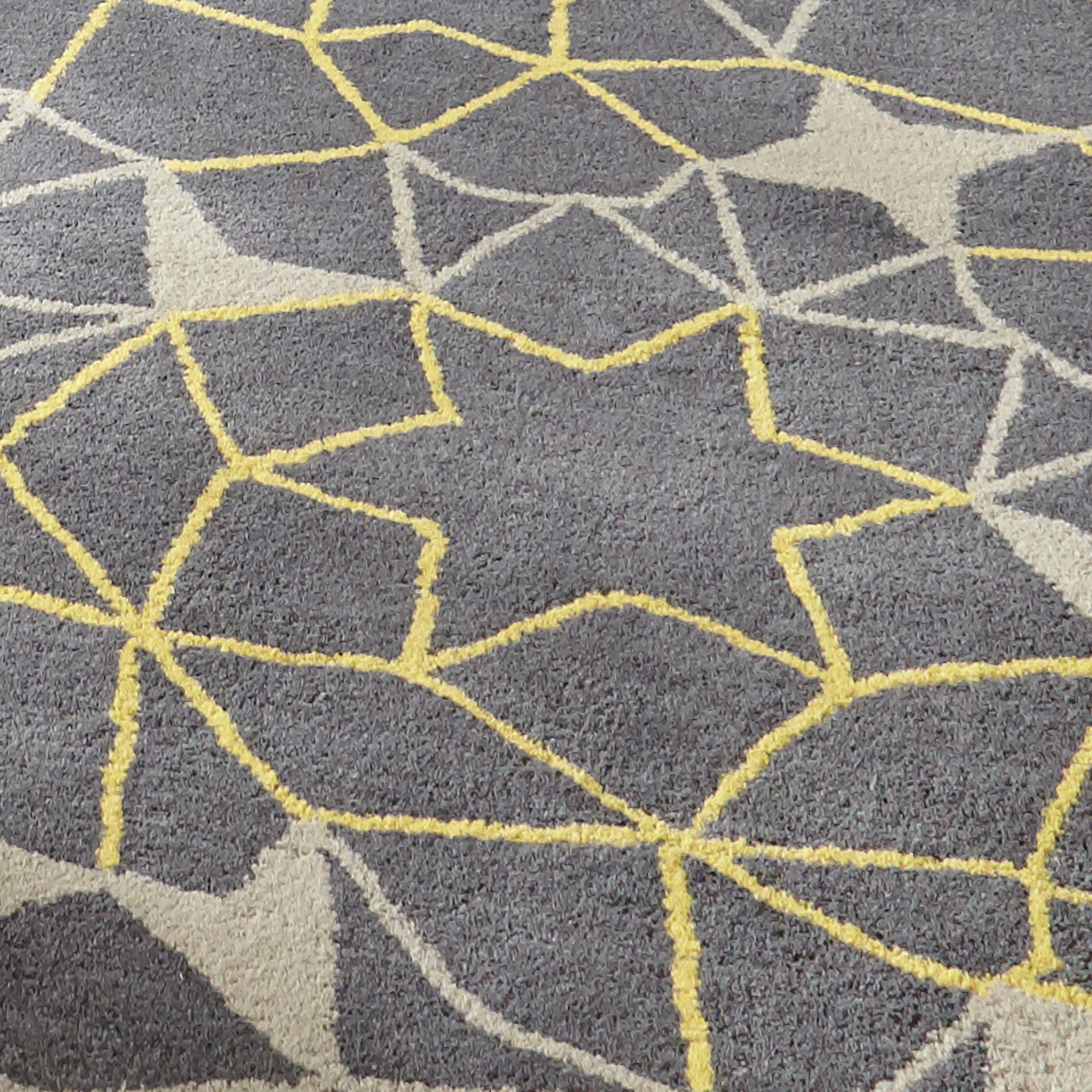 Grey Yellow Geometric Rug 100 Wool Arrows Stars Hand Tufted With Large Geometric Rugs (View 7 of 15)