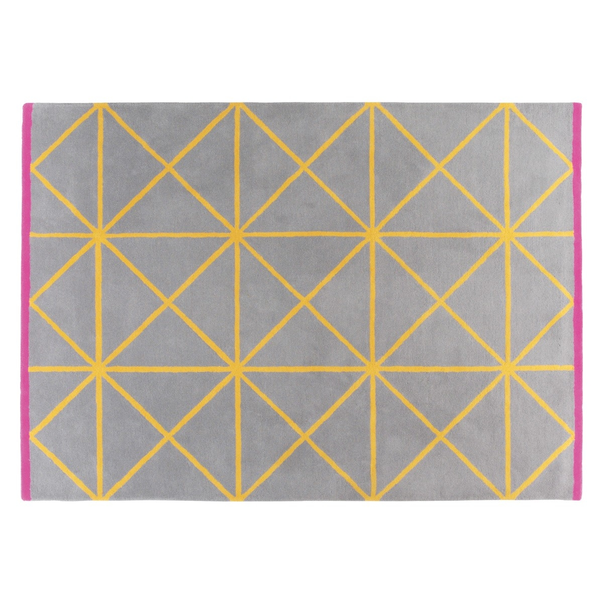 Grid Large Grey And Yellow Geometric Wool Rug 170 X 240cm Buy For Large Geometric Rugs (Image 6 of 15)