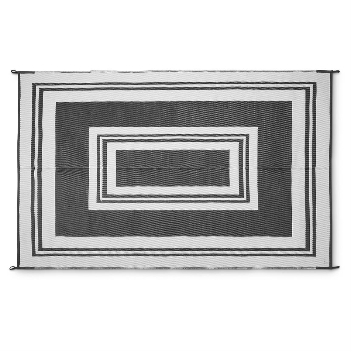 Guide Gear Reversible 9 X 12 Outdoor Rug Border Pattern Pertaining To Cream And Black Rugs (Image 11 of 15)