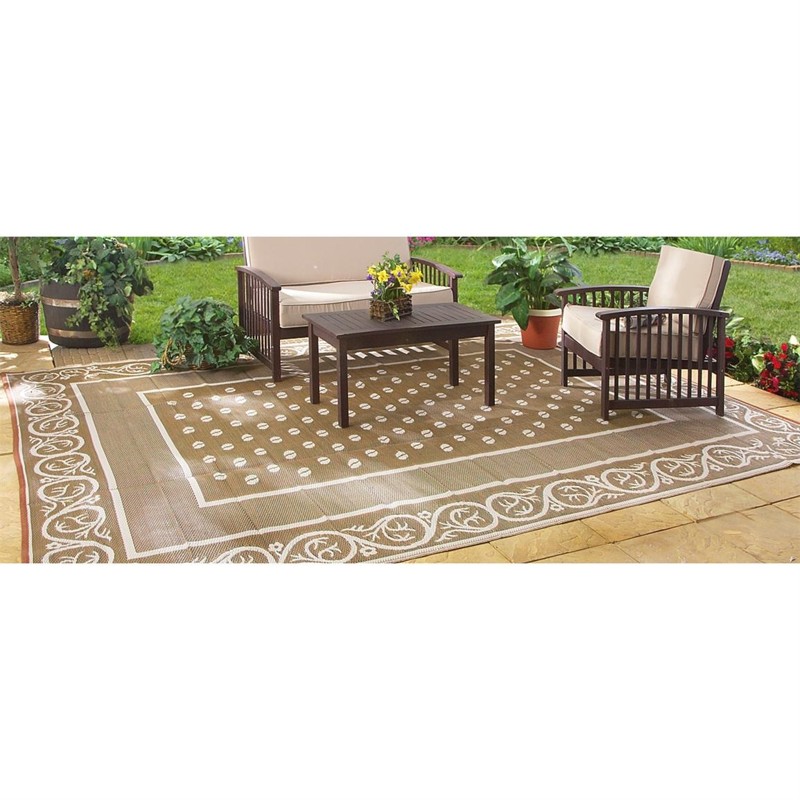 Guide Gear Reversible 9 X 12 Outdoor Rug Scroll Pattern Within Outside Carpets (Image 5 of 15)