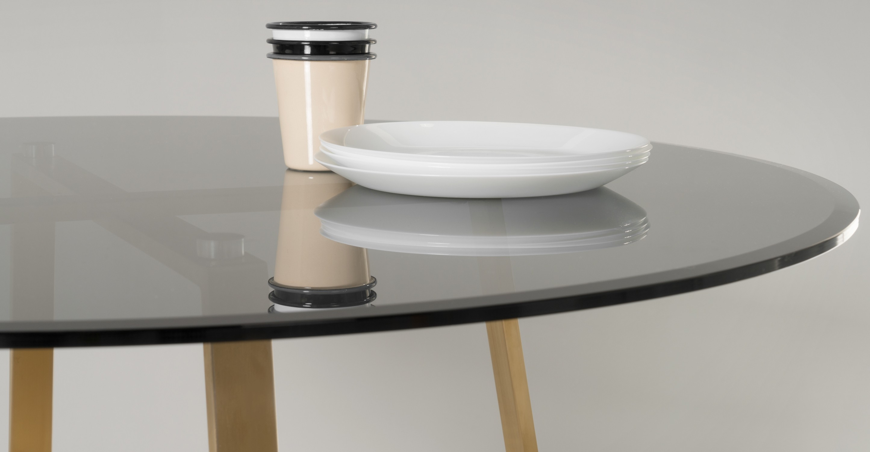 Haku Round Large Dining Table Brass And Smoked Glass Made Within Smoked Glass Shelf (Image 10 of 15)