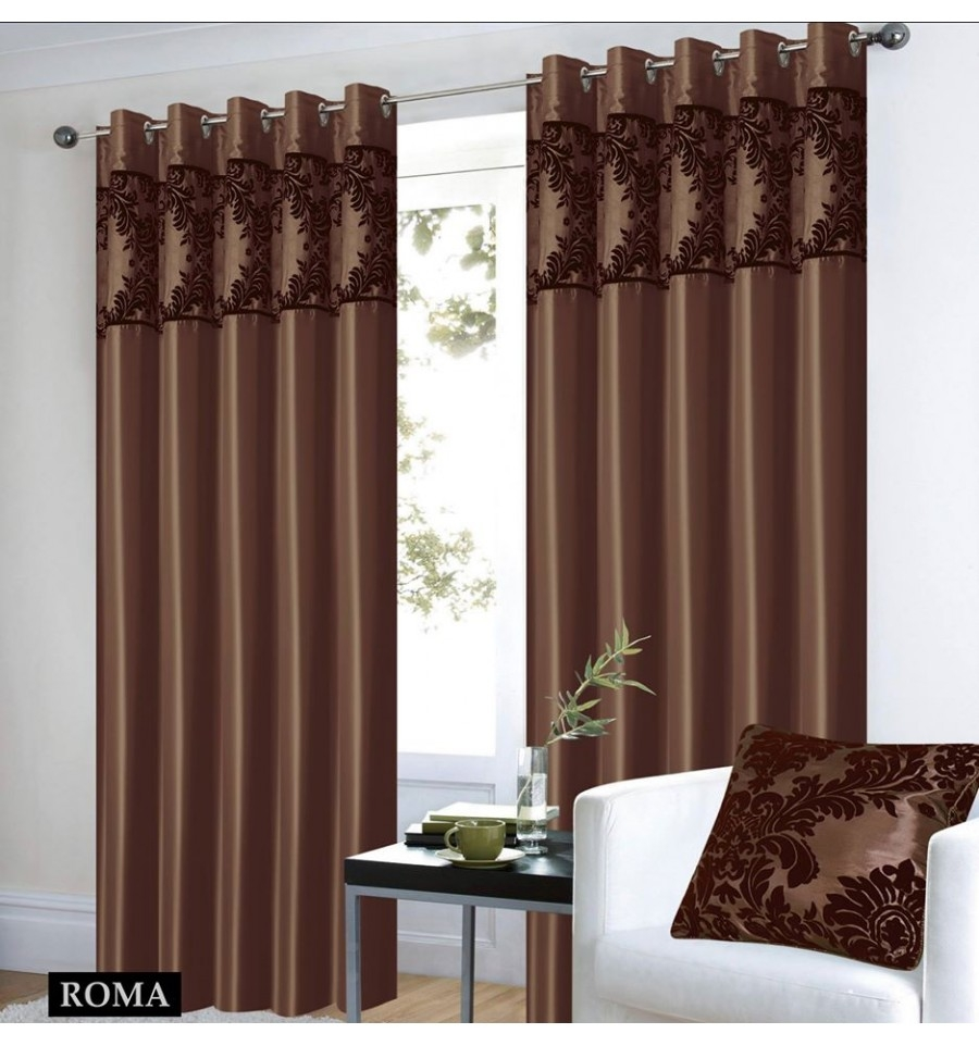 Half Flocking Eyelet Curtains With Ring Brown Downtownsale With Brown Eyelet Curtains (Image 8 of 25)