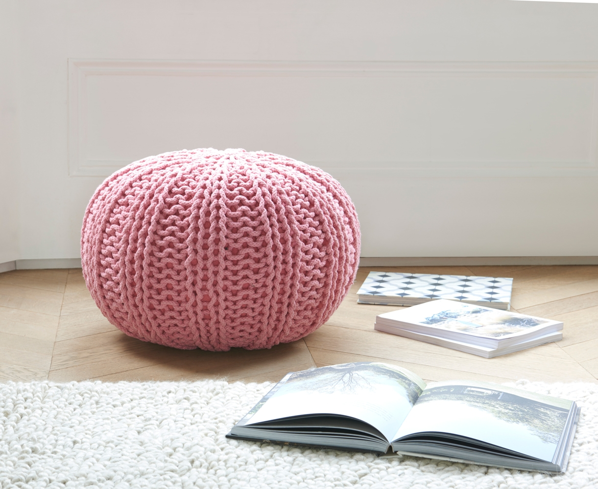 Hand Knitted Rope Pouffe Bug Loaf Inside Small Footstools And Pouffes (Image 6 of 15)