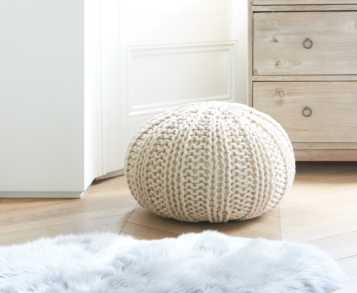 Hand Knitted Rope Pouffe Bug Loaf Intended For Small Footstools And Pouffes (View 12 of 15)