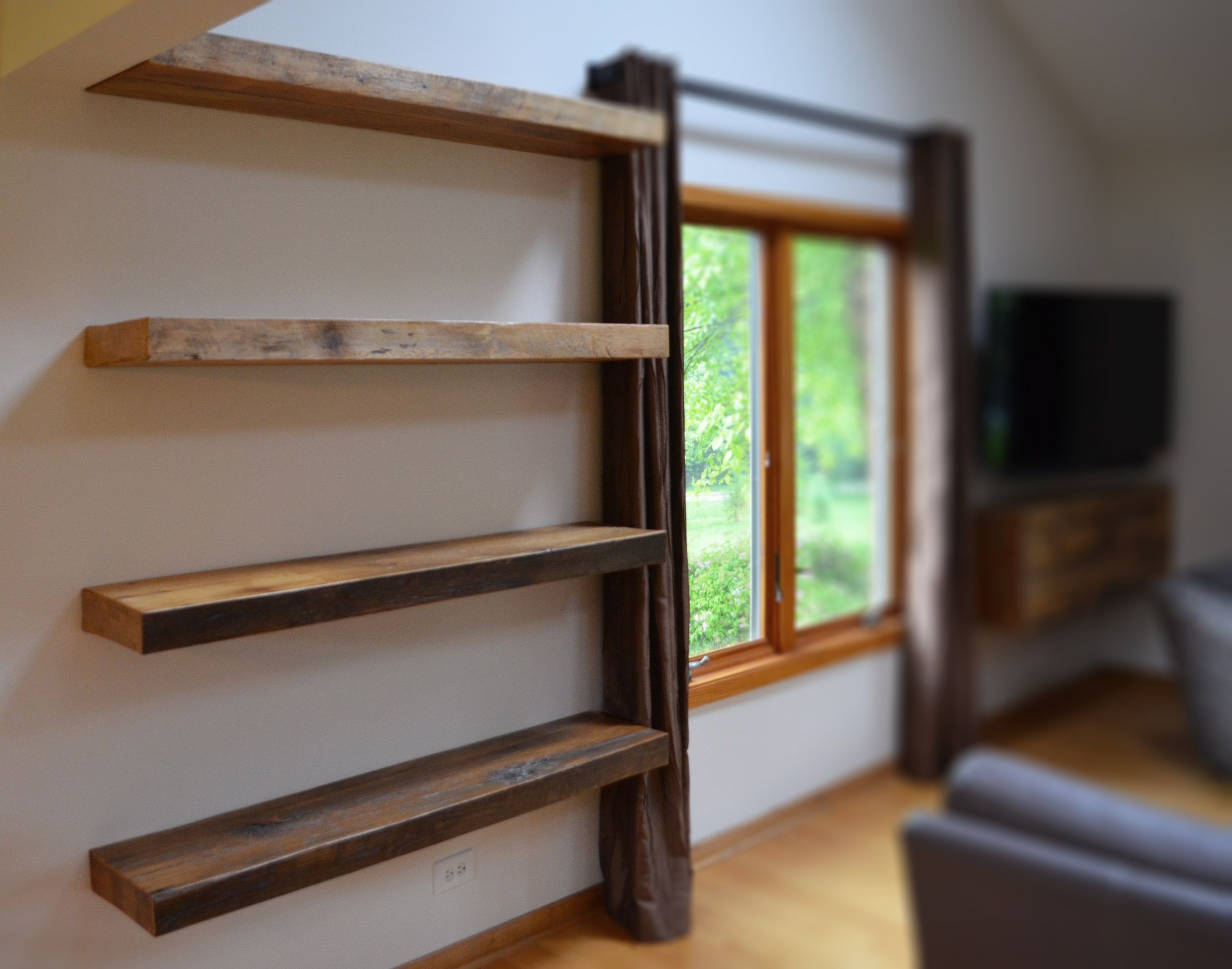 Hand Made Rustic Floating Shelves Abodeacious Custommade With Regard To Custom Floating Shelves (Image 13 of 15)