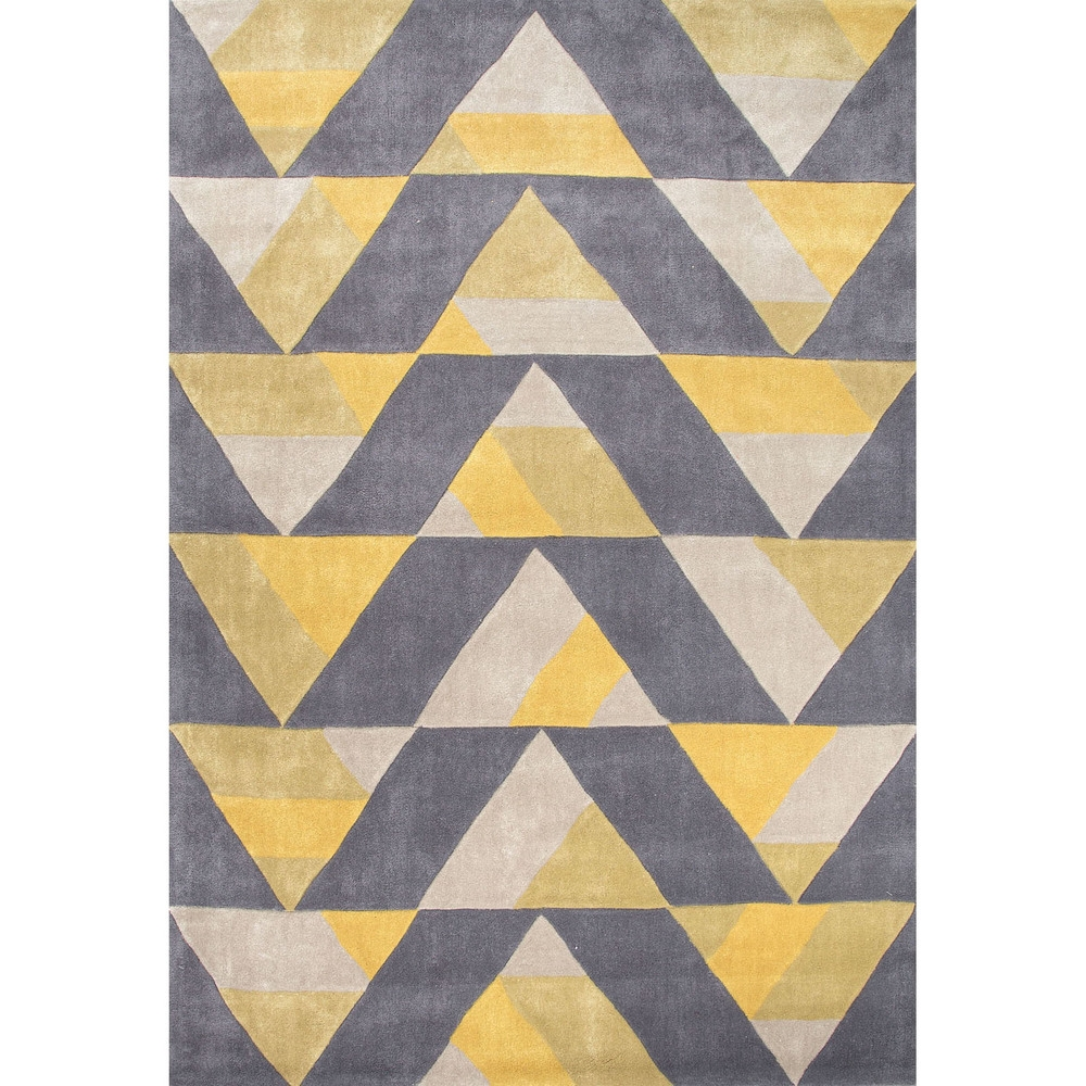 Hand Tufted Geometric Pattern Gold Grey Polyester Area Rug 36 X Within Large Geometric Rugs (Image 7 of 15)