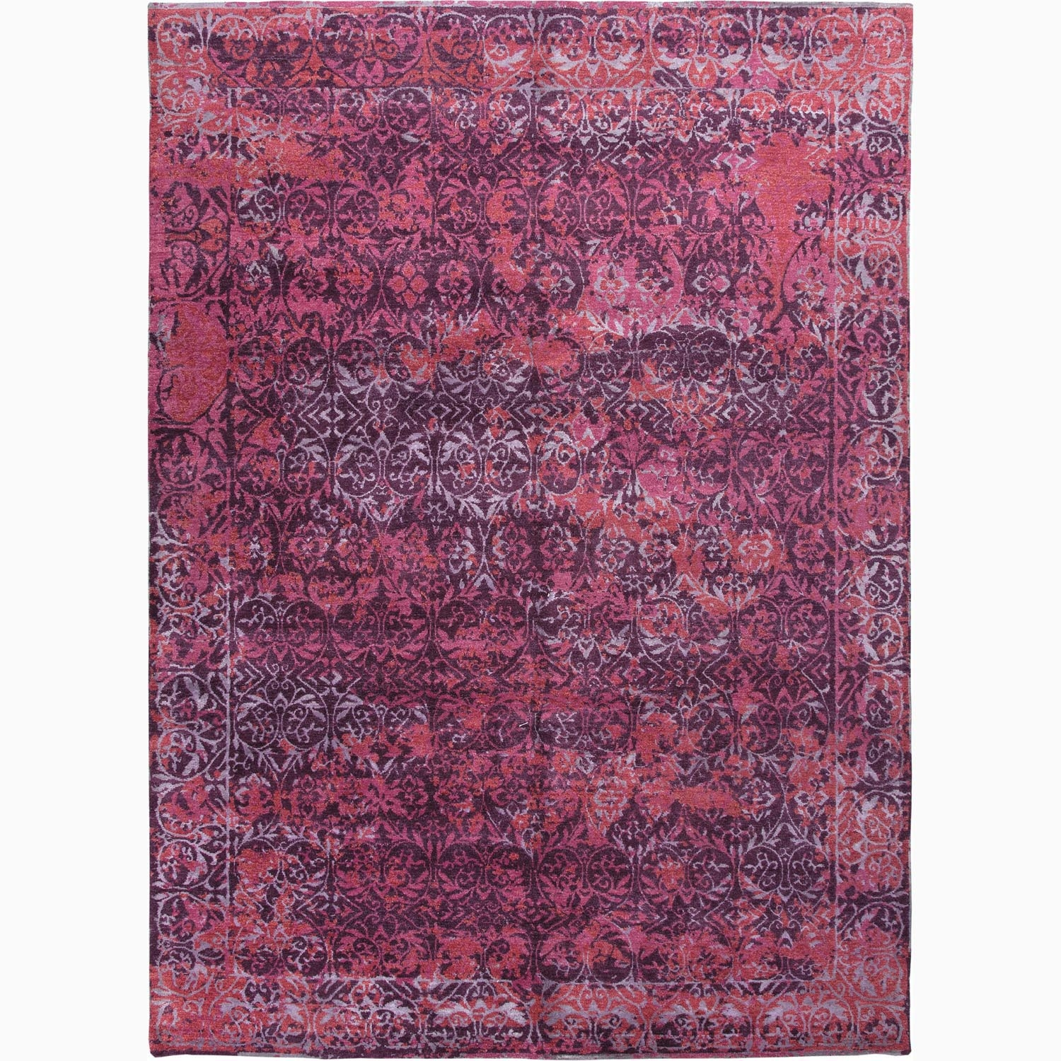Handmade Abstract Pattern Purple Pink Wool Rayon From Bamboo With Regard To Pink Pattern Rugs (Image 10 of 15)
