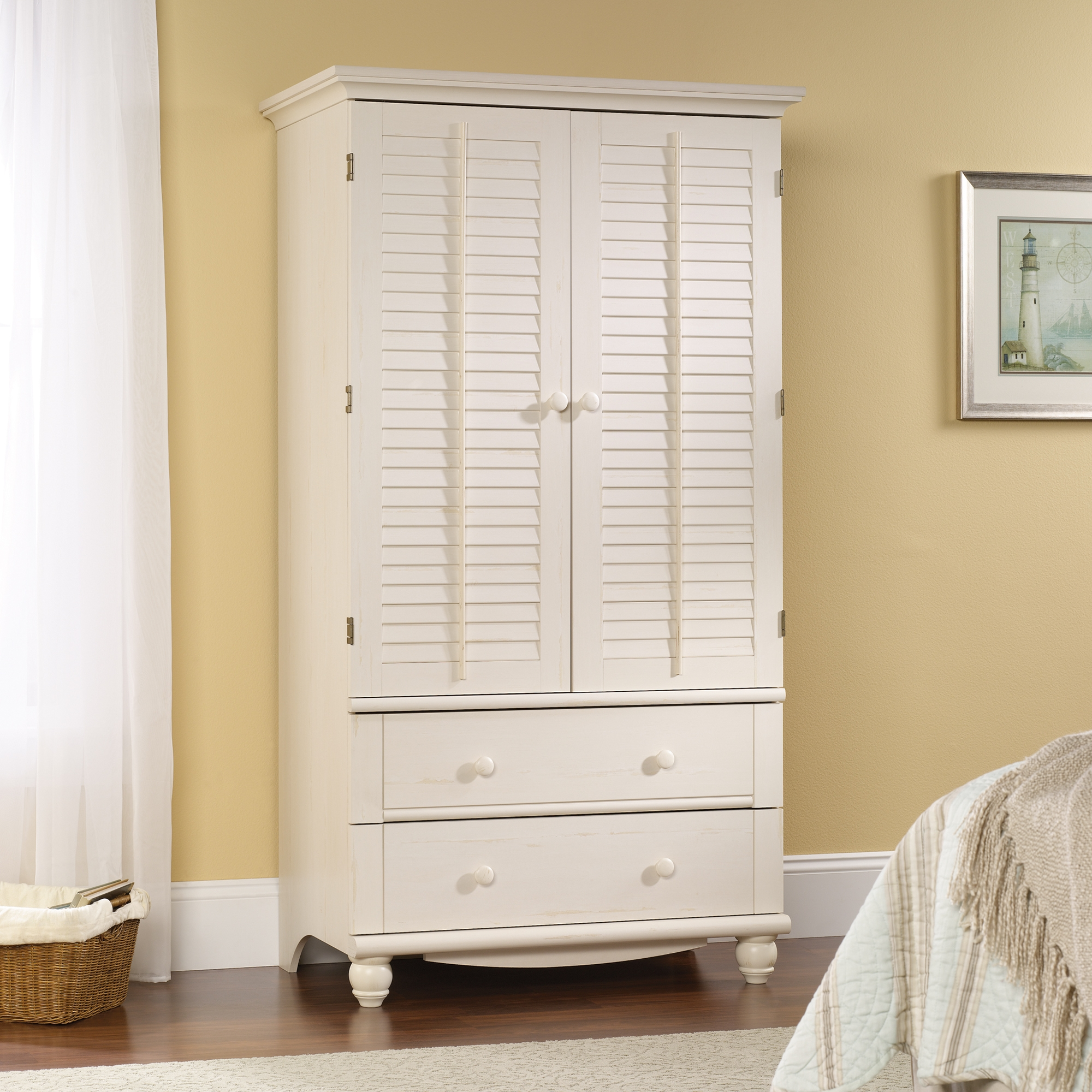 Harbor View Armoire 158036 Sauder In White Wardrobe Armoire (Image 15 of 25)