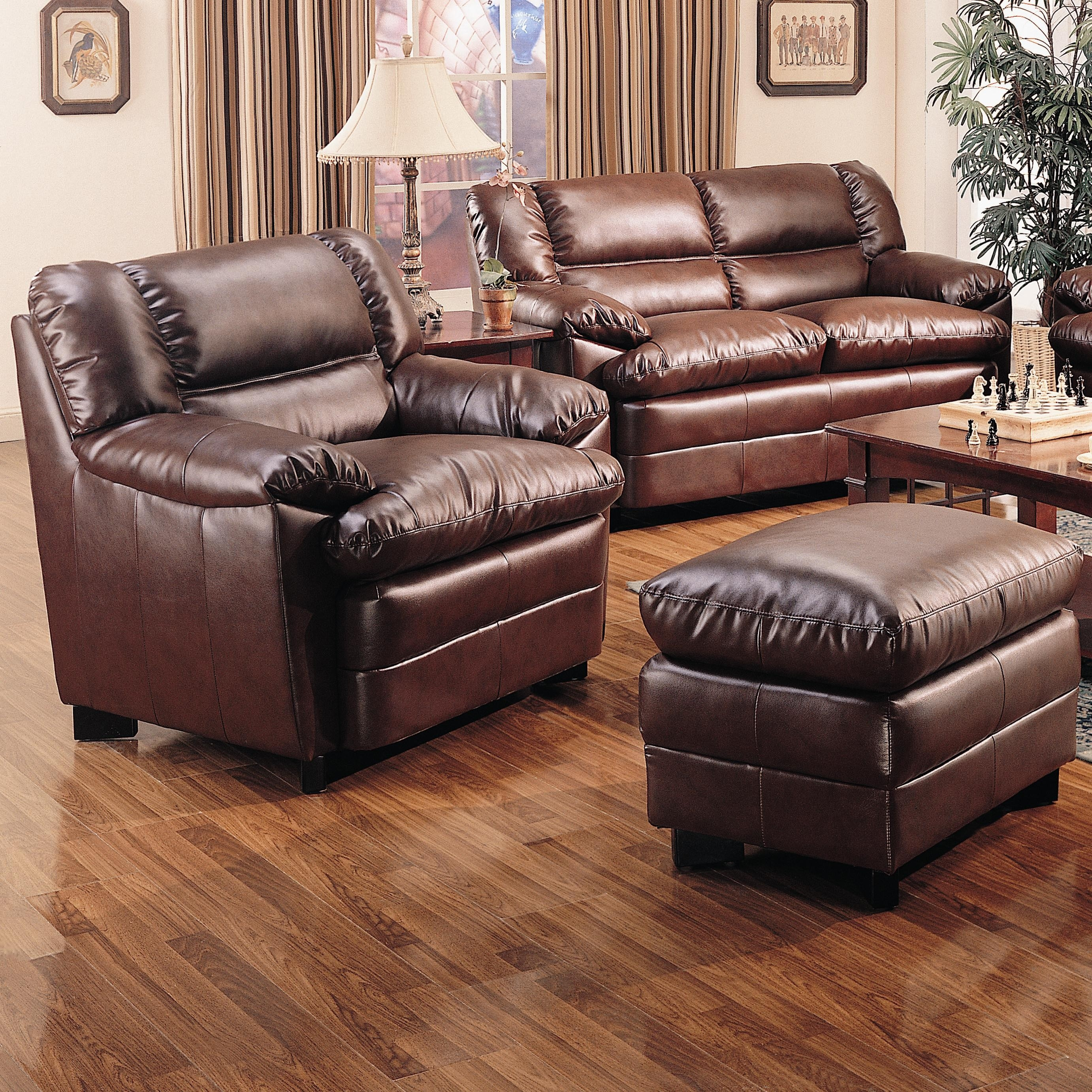 Harper Overstuffed Leather Chair With Ottoman Lowest Price Sofa With Overstuffed Sofas And Chairs (Image 7 of 15)