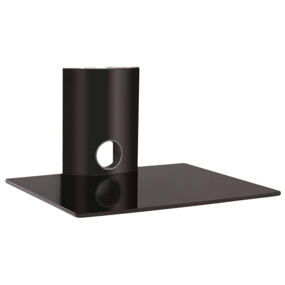 Hartleys Wall Mount Single Floating Black Glass Dvd Hifi Shelf Sky In Floating Black Glass Shelves (Image 14 of 15)