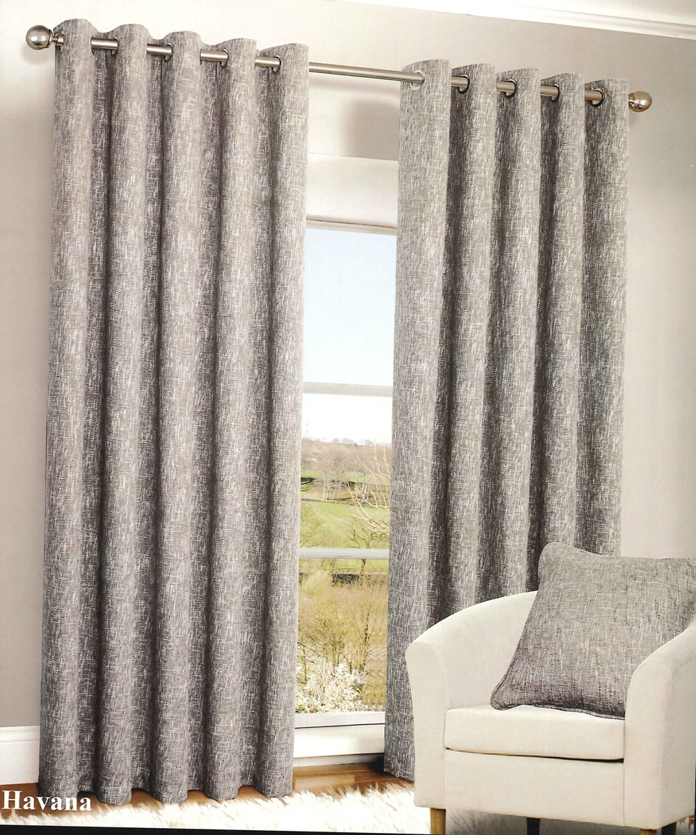 Havana Grey Blackout Eyelet Curtains Harry Corry Limited Throughout Brown Eyelet Curtains (Image 9 of 25)