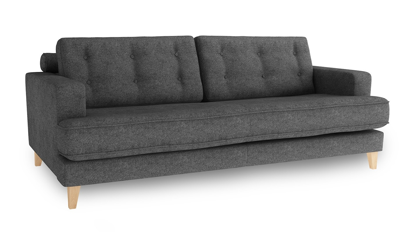Heals Mistral 4 Seater Sofa Wool Felt Armour Natural Feet With 4 Seater Couch (Image 14 of 15)
