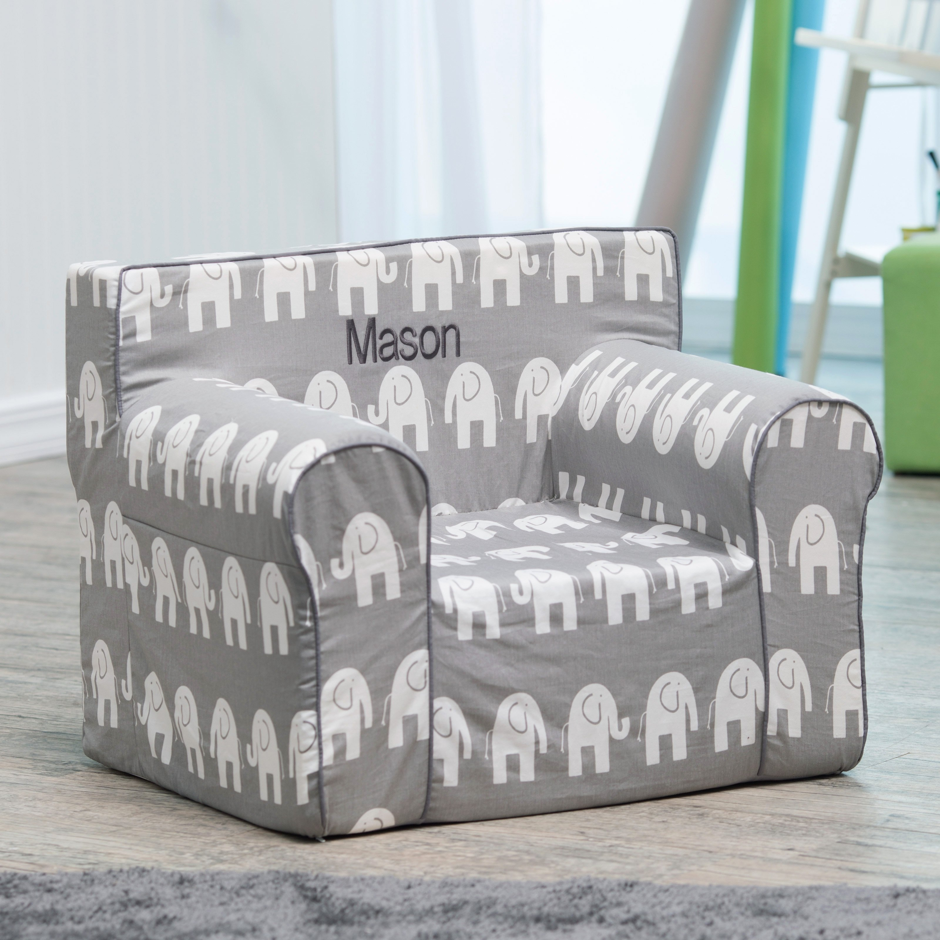 Here And There Personalized Kids Chair Gray Elephant Kids Inside Personalized Kids Chairs And Sofas (Image 3 of 15)