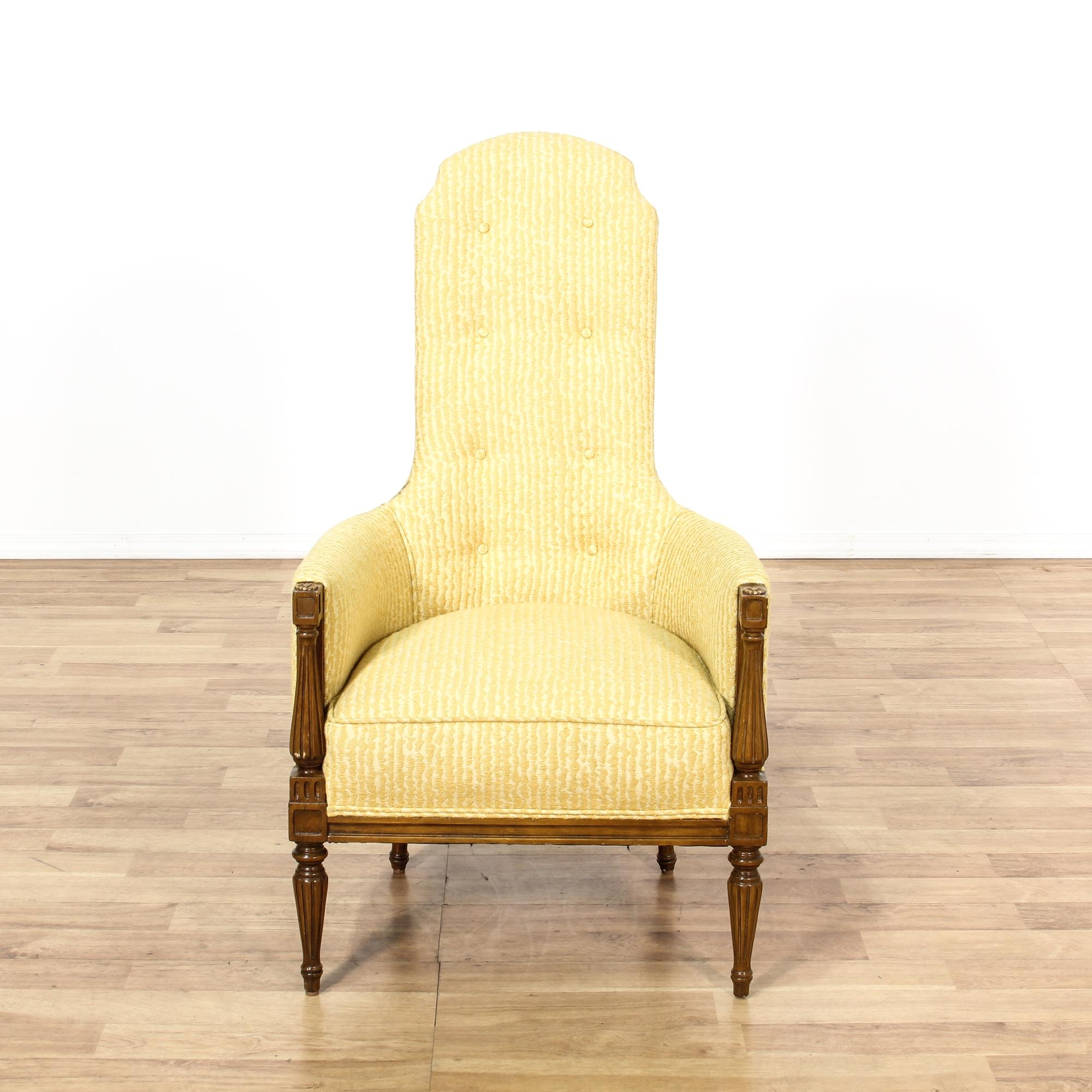 High Narrow Back Yellow Upholstered Armchair Furniture San Diego Throughout Narrow Armchairs (Image 8 of 15)