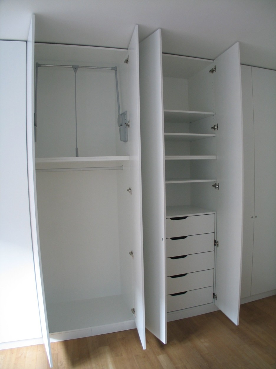 High White Wooden Wardrobe With Shelves Also Five Drawers Combined With Regard To Wardrobe With Drawers And Shelves (Image 10 of 15)