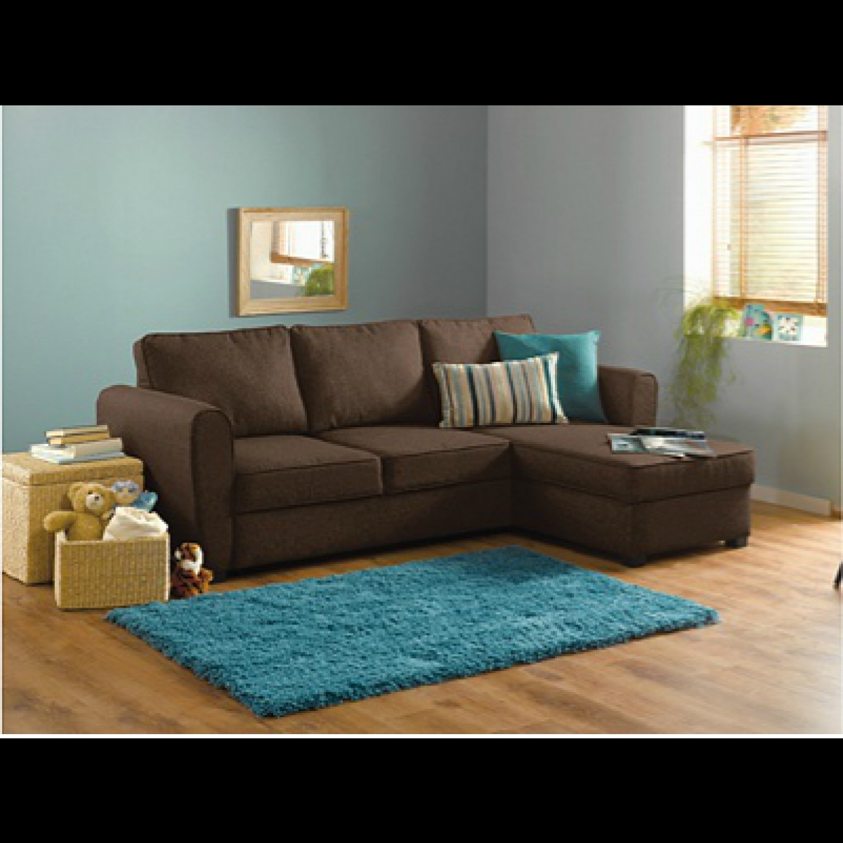 Home New Siena Fabric Corner Sofa Bed W Storage Chocolate Intended For Fabric Corner Sofa Bed (Image 5 of 15)