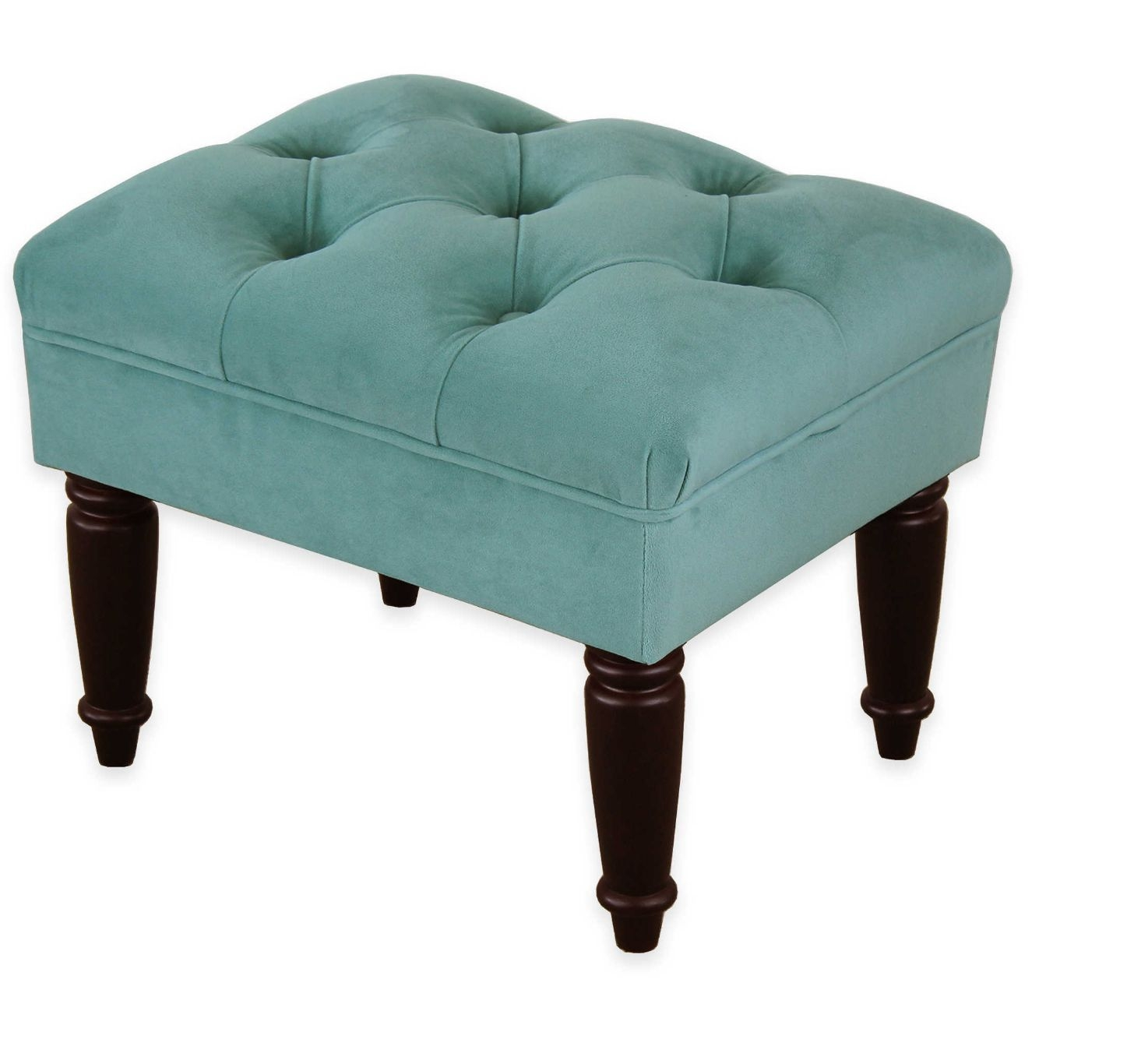 Home Tufted Upholstered Velvet Fabric Bench Foot Stool Seat Regarding Velvet Footstool (Image 11 of 15)