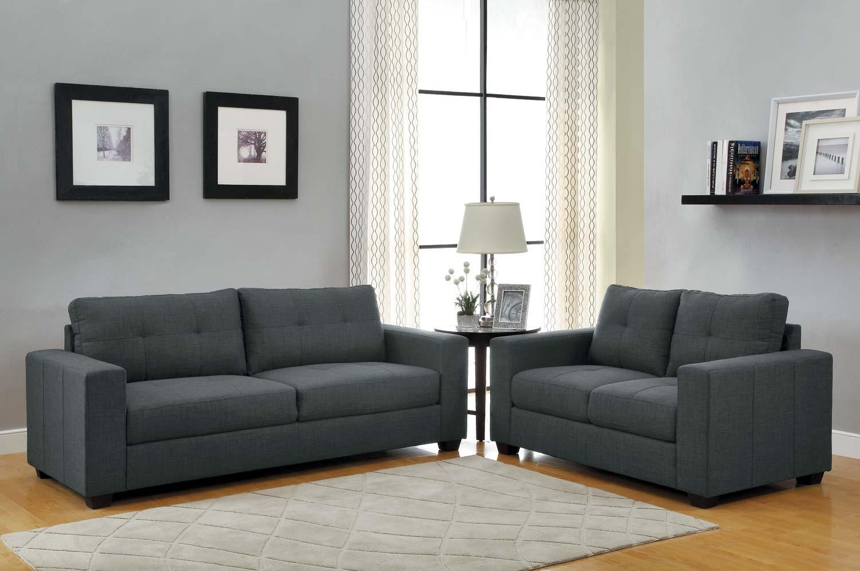 Homelegance Ashmont Sofa Set Dark Grey Linen Price 91800 Throughout Charcoal Grey Sofas (Image 9 of 15)