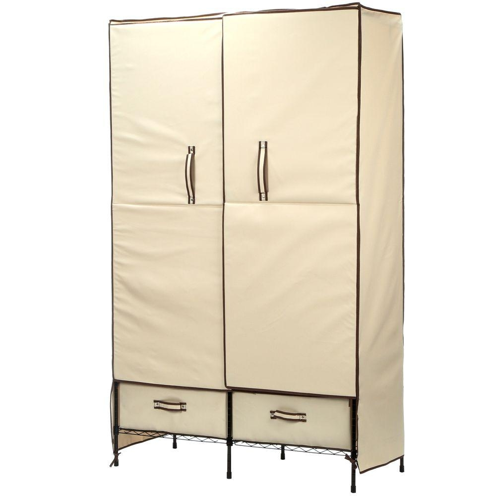 Honey Can Do 71 In H X 45 In W X 18 In D Double Door Portable In Mobile Wardrobe Cabinets (Image 8 of 25)