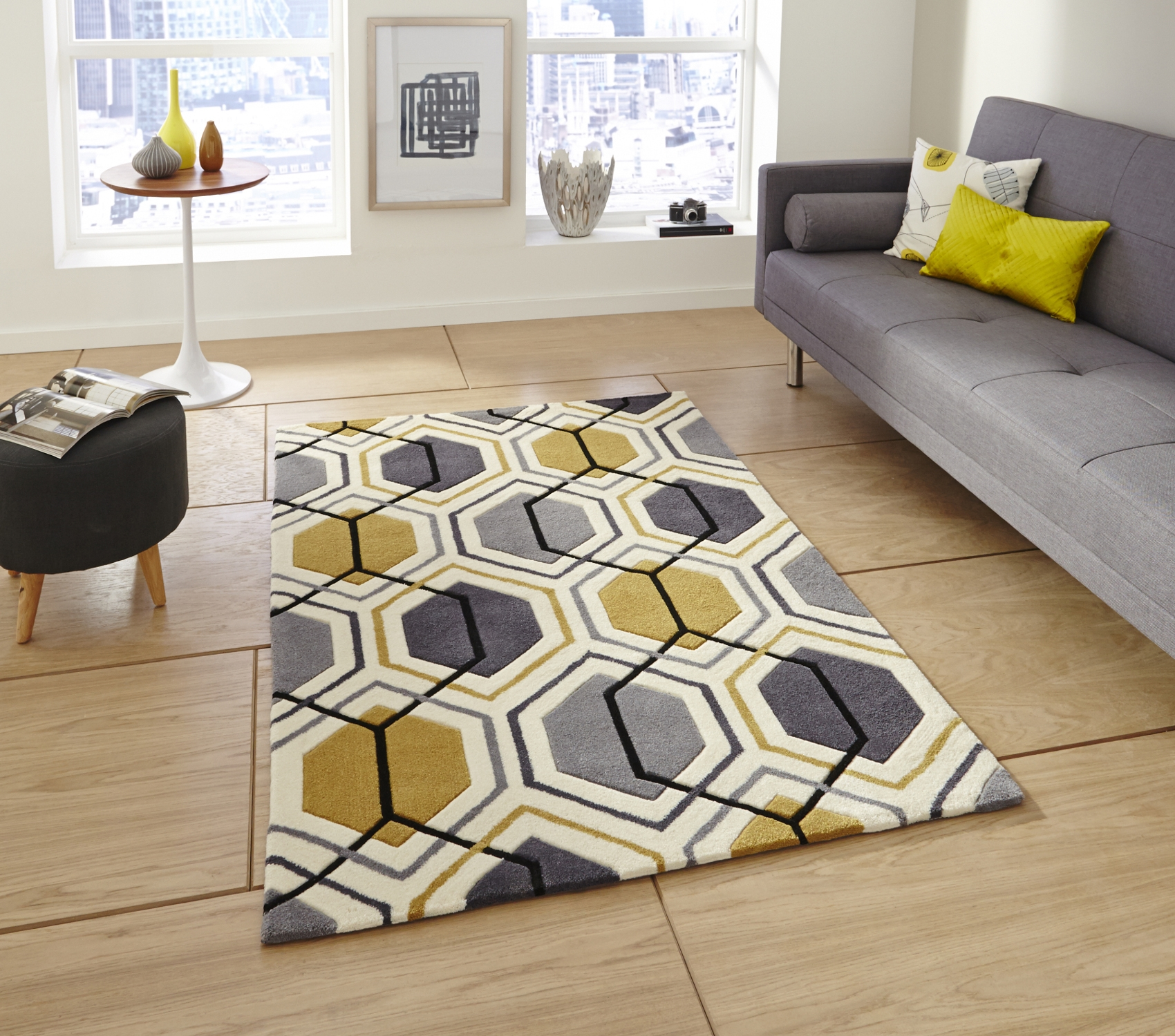 Hong Kong Hexagon Rug 100 Acrylic Hand Tufted Large Geometric For Large Geometric Rugs (View 10 of 15)
