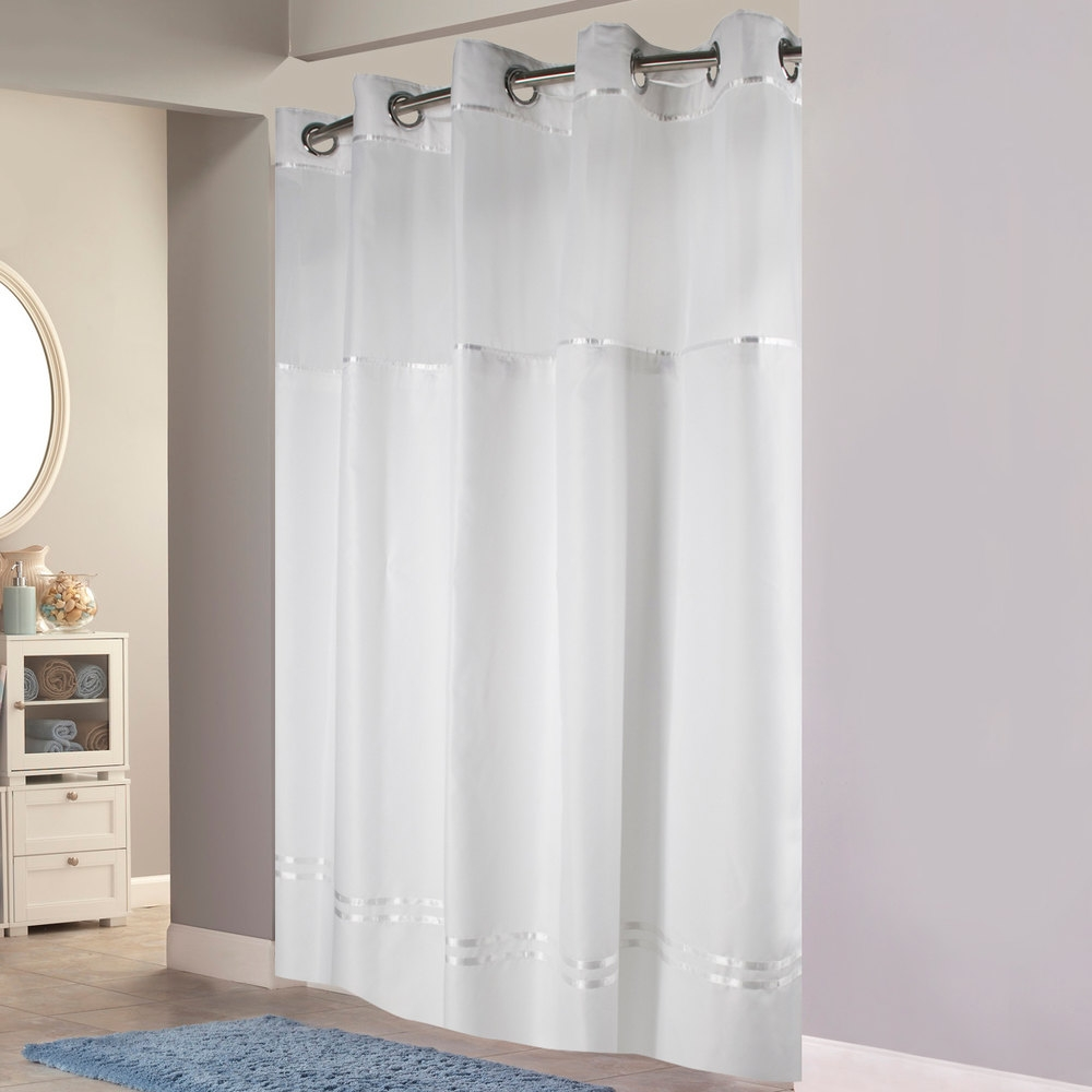 Hookless Hbh40mys0101sl77 White With White Stripe Escape Shower With Regard To Hookless Fabric Shower Curtain Liner (Image 14 of 25)
