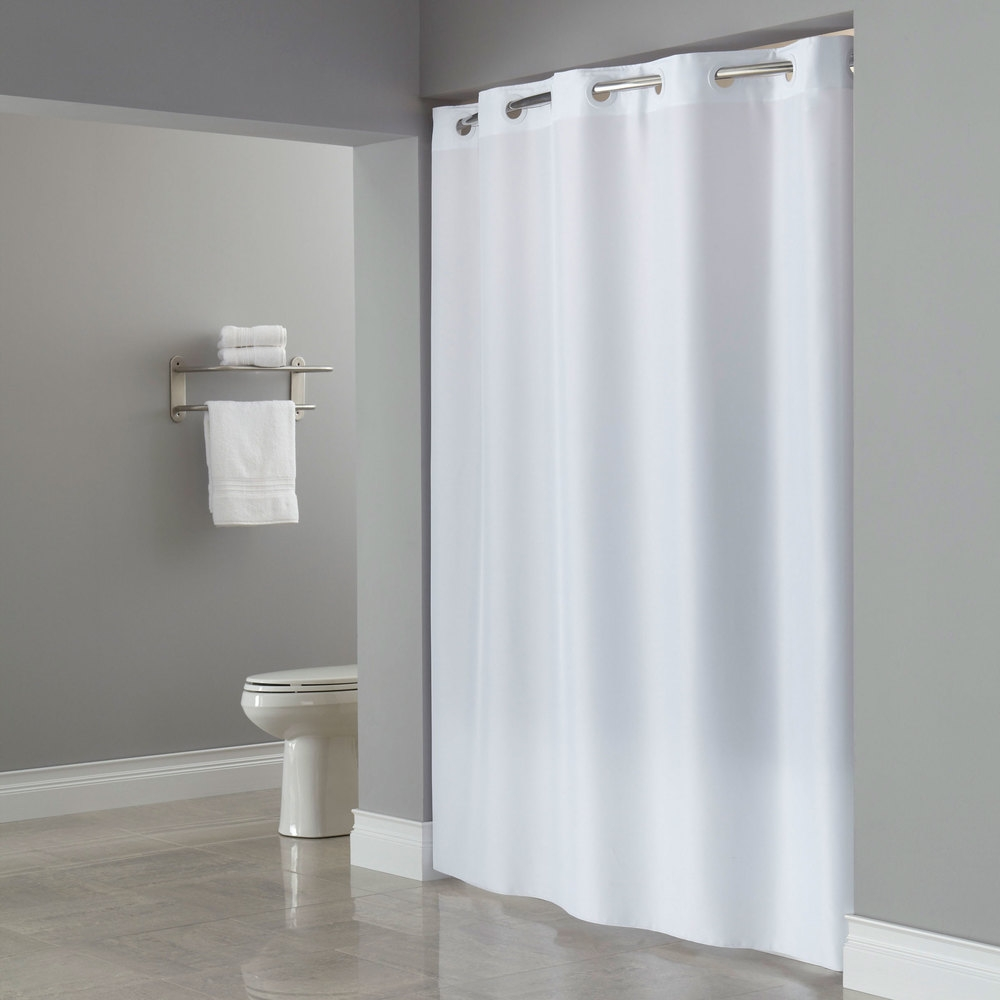 Hookless Hbh40plw01l White Ada Size Plainweave Shower Curtain With For Hookless Fabric Shower Curtain Liner (Photo 14 of 25)