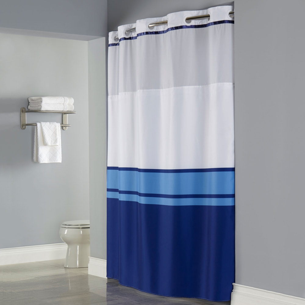 Hookless Shower Curtain Liner Extra Long Curtains Decoration Throughout Hookless Fabric Shower Curtain Liner (Image 18 of 25)
