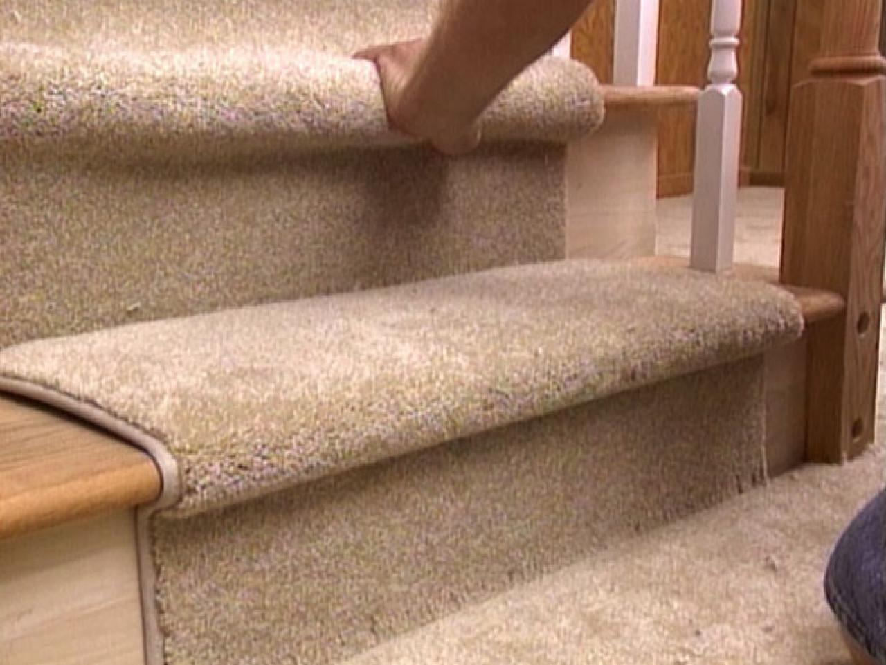 How To Install A Carpet Runner On Stairs Hgtv Regarding Stair Tread Carpet Rods (Image 6 of 15)