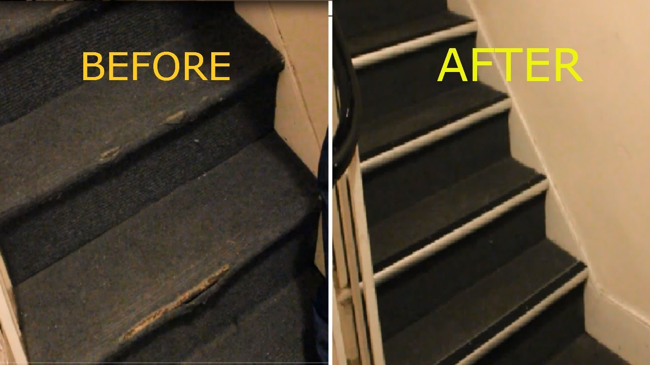 How To Repair Damaged Carpet On Stairs Nosing Strip Youtube In Carpet Strips For Stairs (Image 11 of 15)