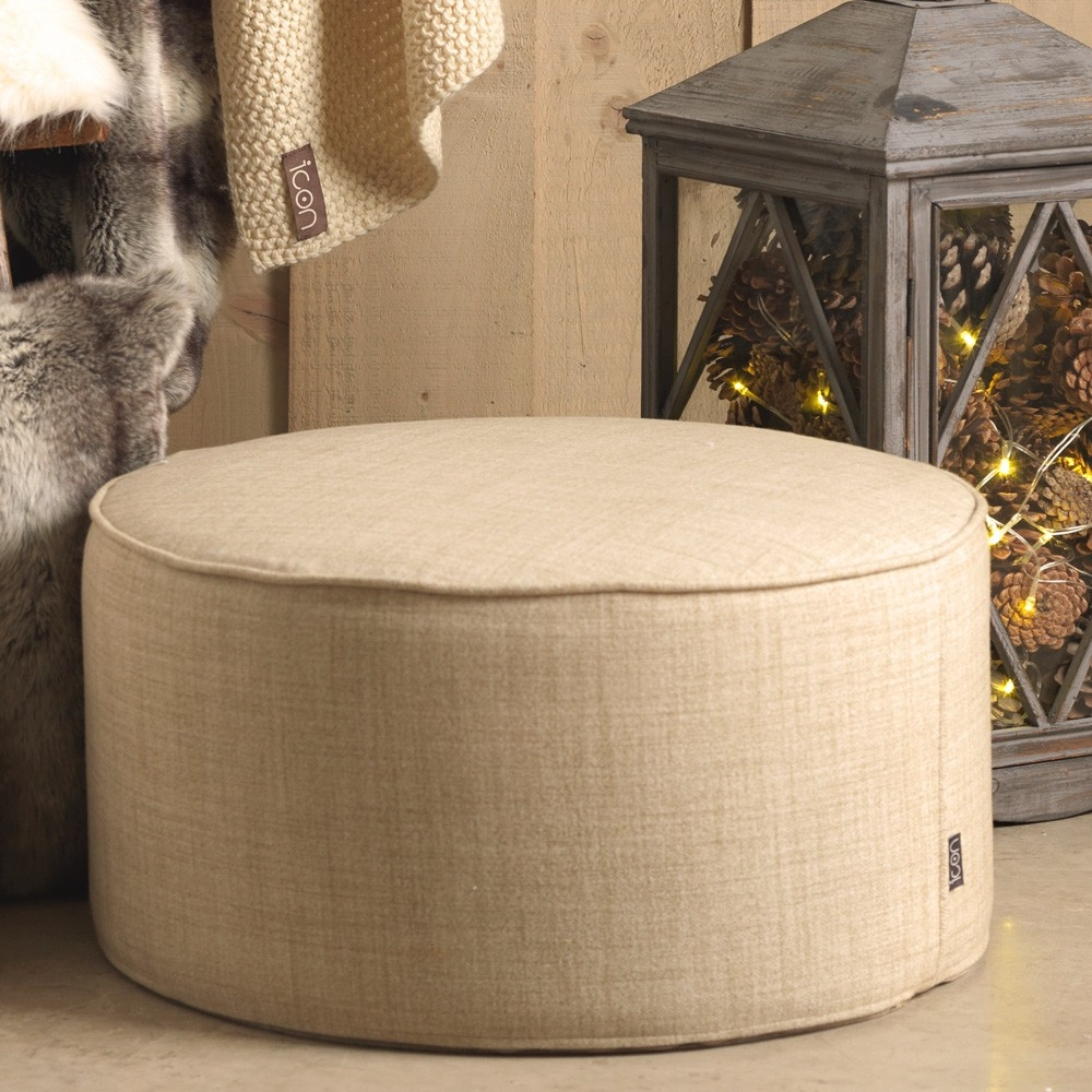 Icon Woven Pouffe Natural Footstools Beanbagbazaar Throughout Footstools And Pouffes (Image 10 of 15)