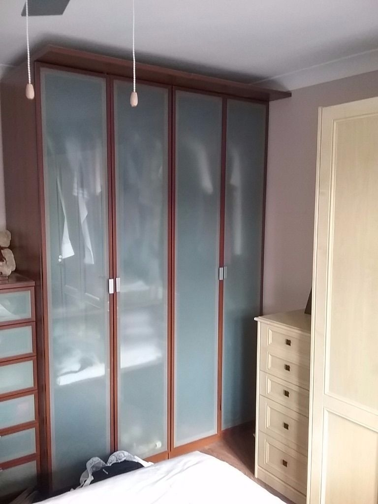 Ikea Wardrobes X 2 Dark Wood Effect With Obscure Glass Doors With Dark Wood Wardrobes (Image 10 of 15)
