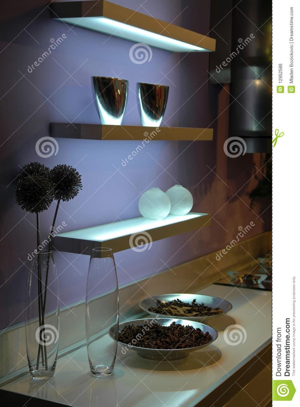 Illuminated Glass Shelves Royalty Free Stock Image Image 12952586 With Illuminated Glass Shelves (View 15 of 15)