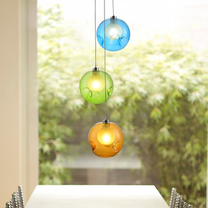 Impressive Deluxe Multi Coloured Pendant Lights Intended For Aliexpress Buy Modern Glass Ball Pendant Light G4 Blub For (Image 13 of 25)