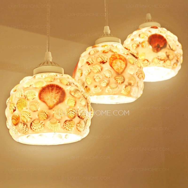 Impressive Fashionable Shell Light Shades Pendants With Regard To Seashell Shade 3 Light Pendant Lights For Kitchen (View 24 of 25)