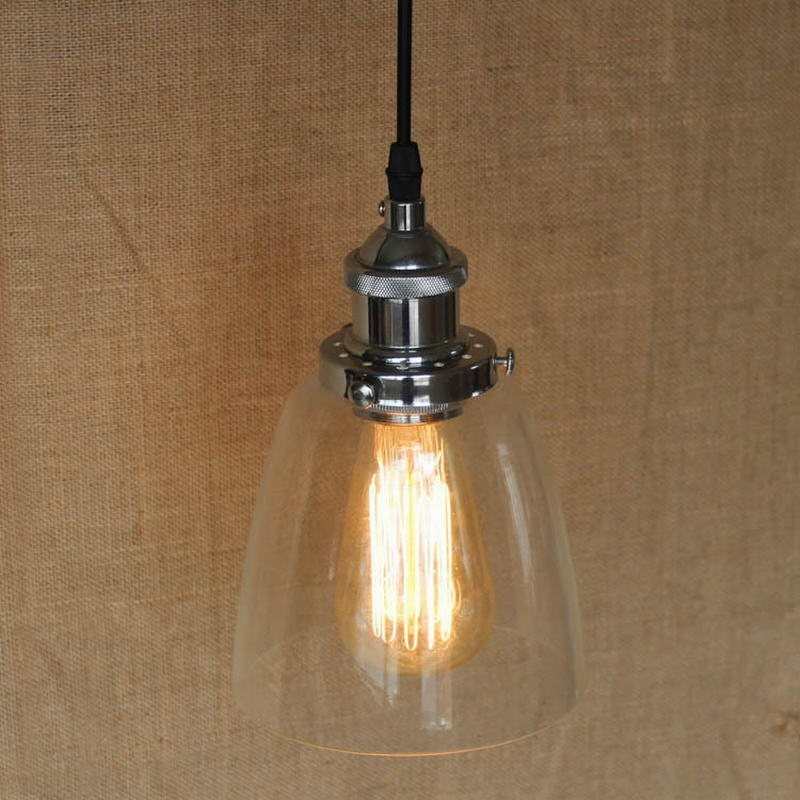Impressive Favorite Glass Shades For Pendant Lights Inside Loft Industrial Clear Glass Shade Pendant Lamp With Edison Led (View 23 of 25)