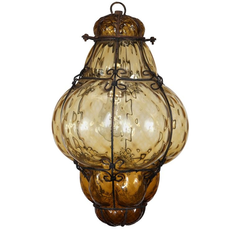 Impressive Favorite Venetian Glass Ceiling Lights For Vintage Hand Blown Seguso Murano Amber Glass Cage Pendant Light (View 7 of 25)