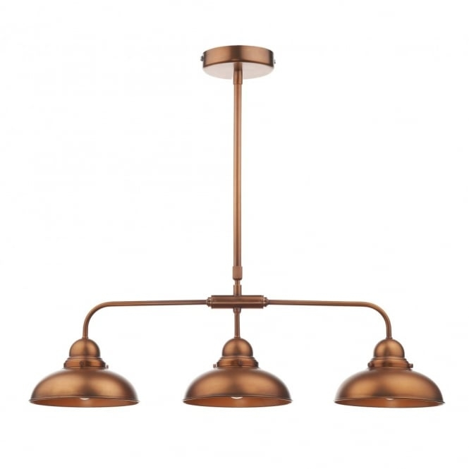 Impressive New Double Pendant Lights Pertaining To Dyn0364 Dar Dynamo 3 Light Ceiling Light Antique Copper (Image 12 of 25)