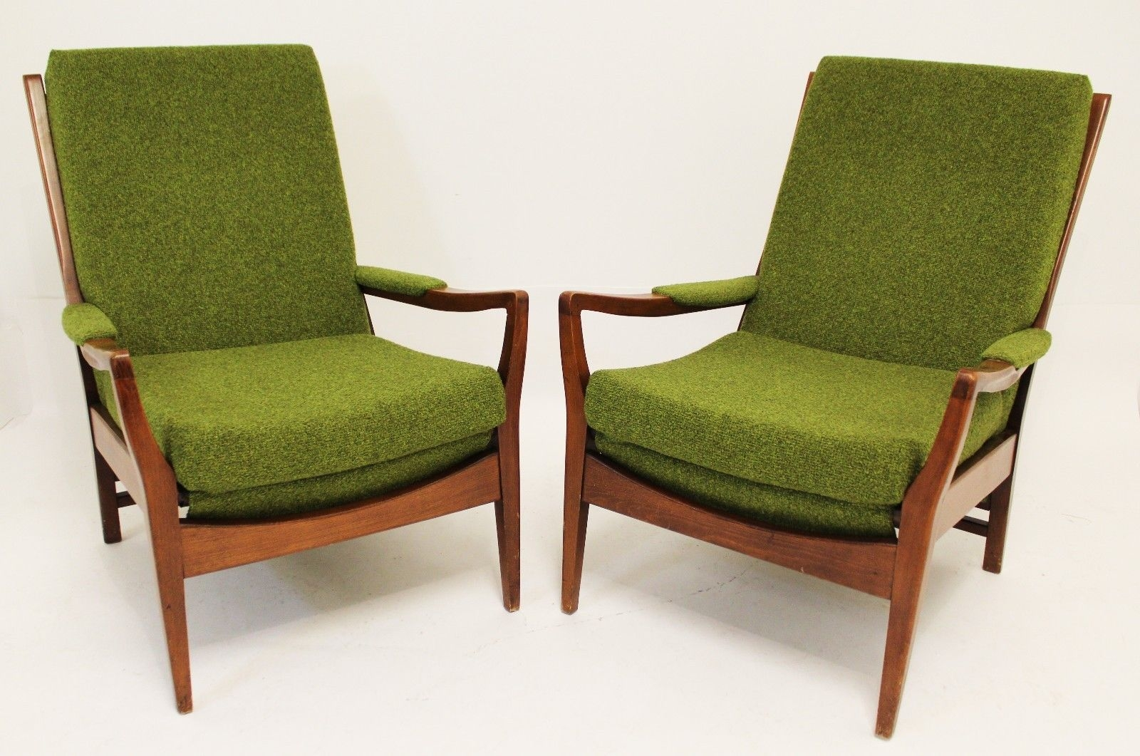 Impressive Popular Cintique Mid Century Armchairs Intended For Mid Century Modern Pair Of Cintique Walnut Chairs English Larsen (View 8 of 15)