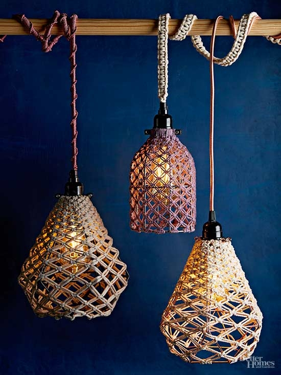 Impressive Popular Macrame Pendant Lights With Regard To Diy Macrame Pendant (Image 17 of 25)