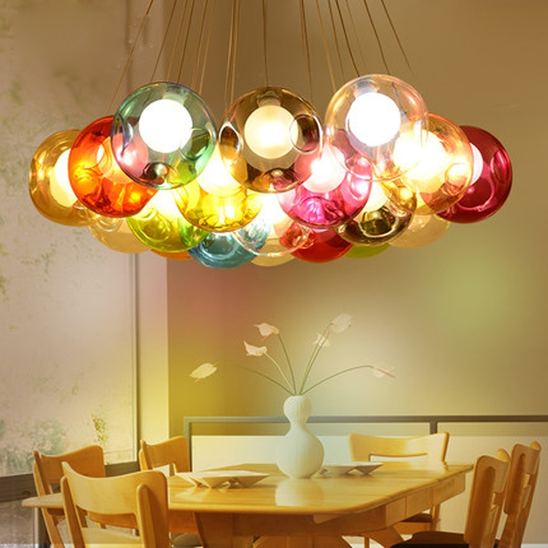 Impressive Preferred Multi Coloured Pendant Lights Inside Aliexpress Buy Modern Glass Ball Pendant Light G4 Blub For (Image 15 of 25)