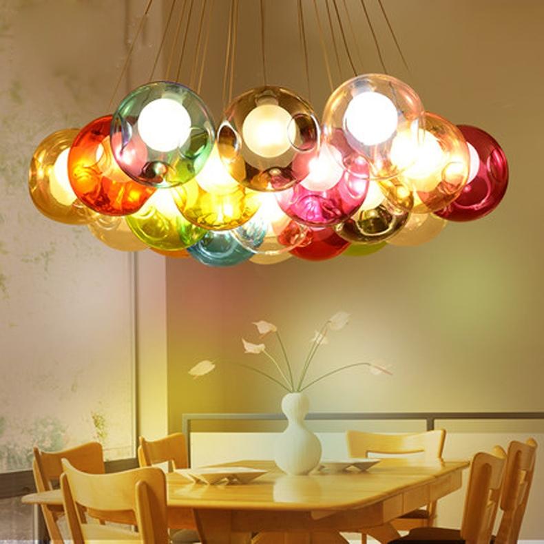 Impressive Preferred Multi Coloured Pendant Lights Inside Aliexpress Buy Modern Glass Ball Pendant Light G4 Blub For (View 21 of 25)
