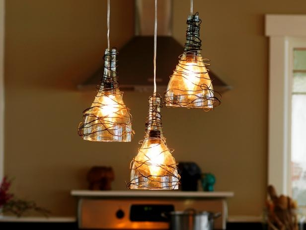 Impressive Series Of Wine Bottle Pendant Lights Throughout Upcycle Wine Bottle Into Pendant Light Fixtures How Tos Diy (View 2 of 25)